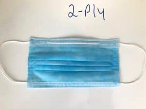 2 ply mask with  earloops front side picture